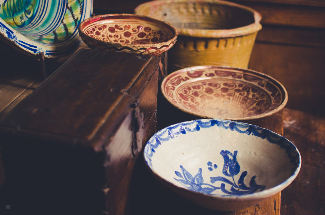 beautiful jars and ceramics in a little shop in Sevilla Andalusia Spain taken by Milie Del