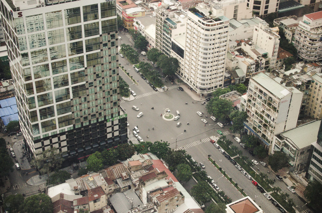Aerial view over the traffic in Ho Chi Minh City Vietnam taken by Milie Del