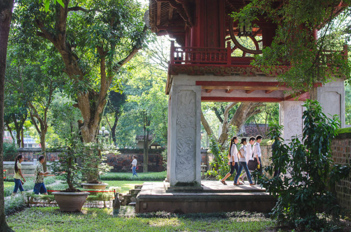 beautiful Literature temple entrance and students in hanoi Vietnam taken by Milie Del