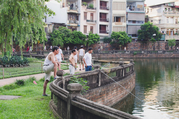 Men fishing in Hanoi Vietnam taken by Milie Del