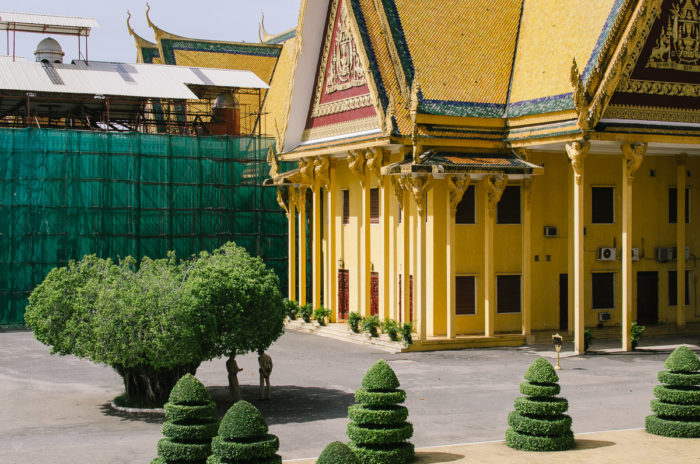 Men standing under a tree next to the Royal palace of Phnom Penh in Cambodia taken by Milie Del