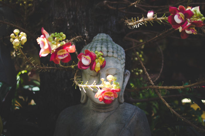 bouddha and the red flowers in Phnom Penh in Cambodia taken by Milie Del