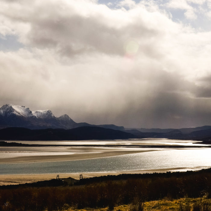 snow capped peaks and Kyle of Tongue, North of Scotland taken by Milie Del
