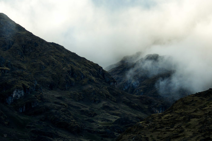 Fog in the mountains in the amary community in Peru taken by Milie Del