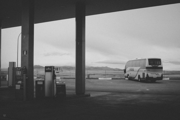 Roadream Black and white photography of a Dream on the Road at Gas Sation autopista spain taken by Milie Del