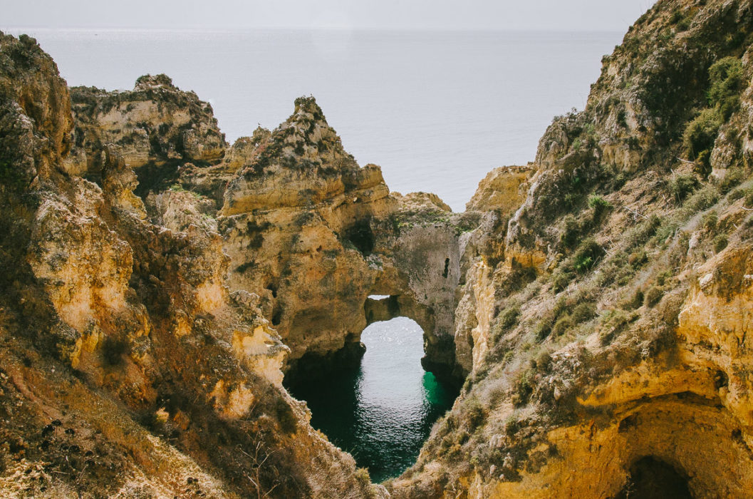 Landscape photo of the yellow cliffs in Lagos Portugal