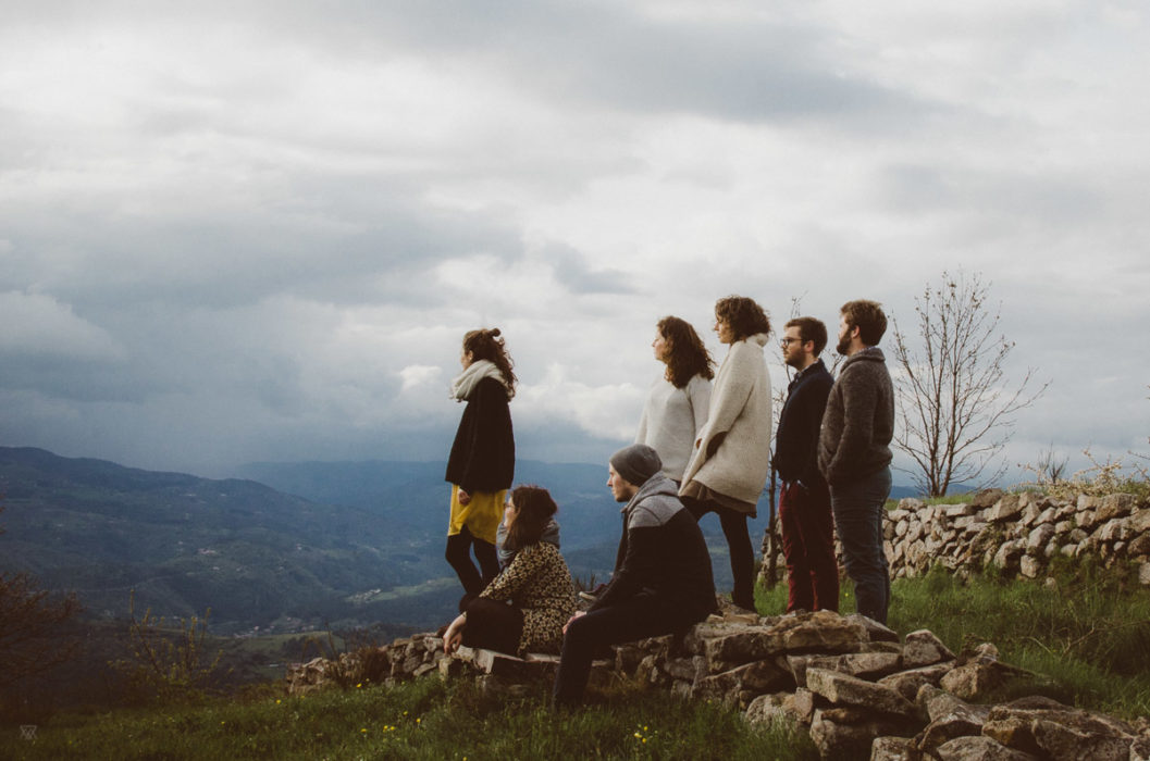Groupe of young people watching the horizon in Ardeche South of France