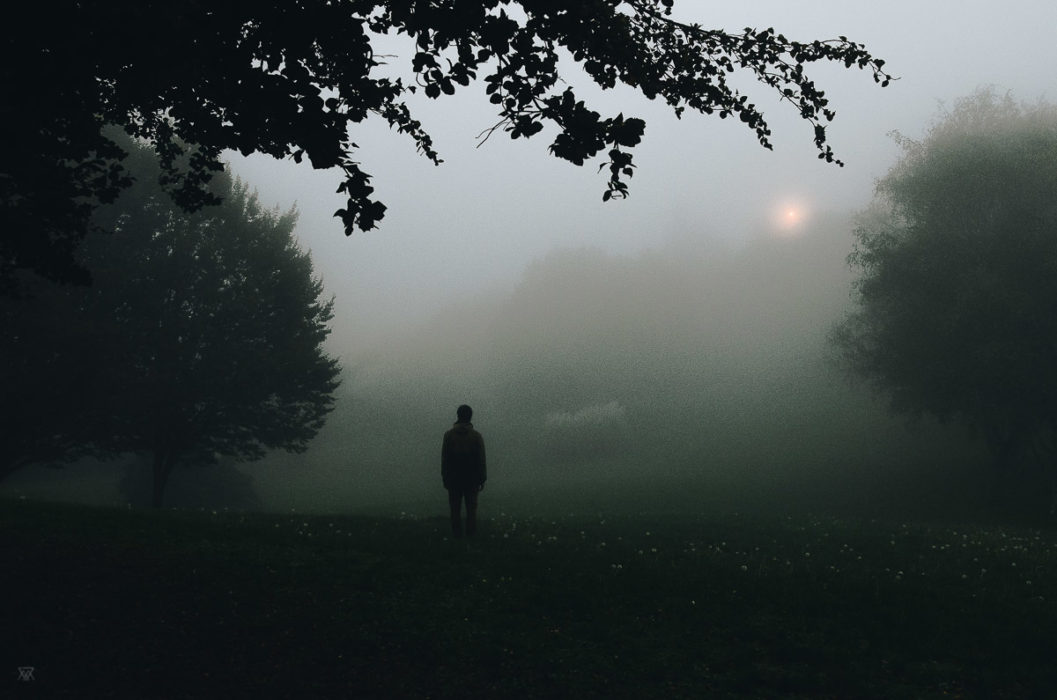The wait, stranger mists, Milie Del, human in the fog in tuscany, italy