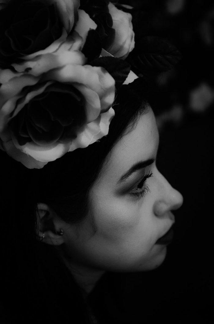 black and white Portrait Frida Kahlo inspiration shoot