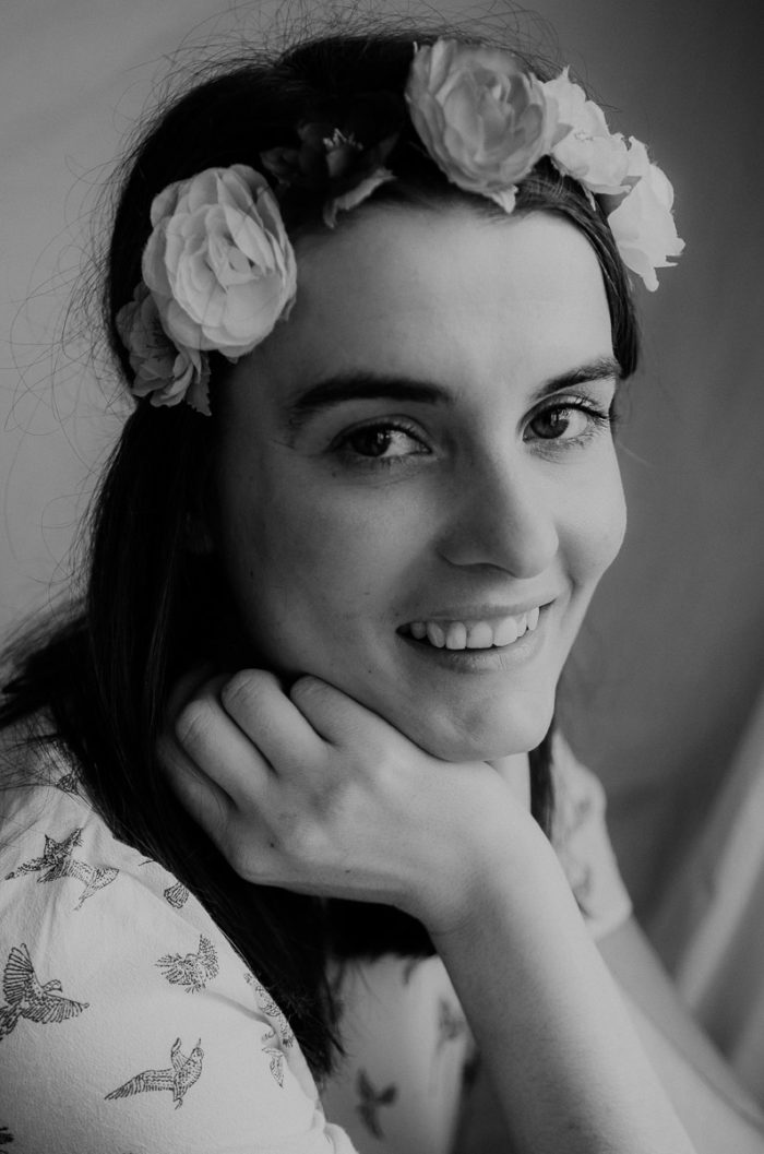 Indoor fashion shoot portrait girl flowers headband
