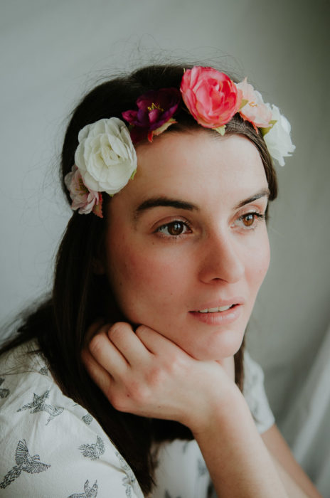 Indoor fashion shoot portrait girl flowers window