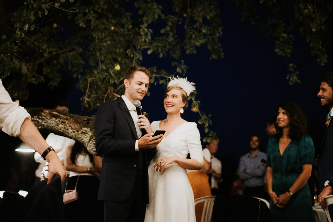 Wedding couple speech under the fig trees