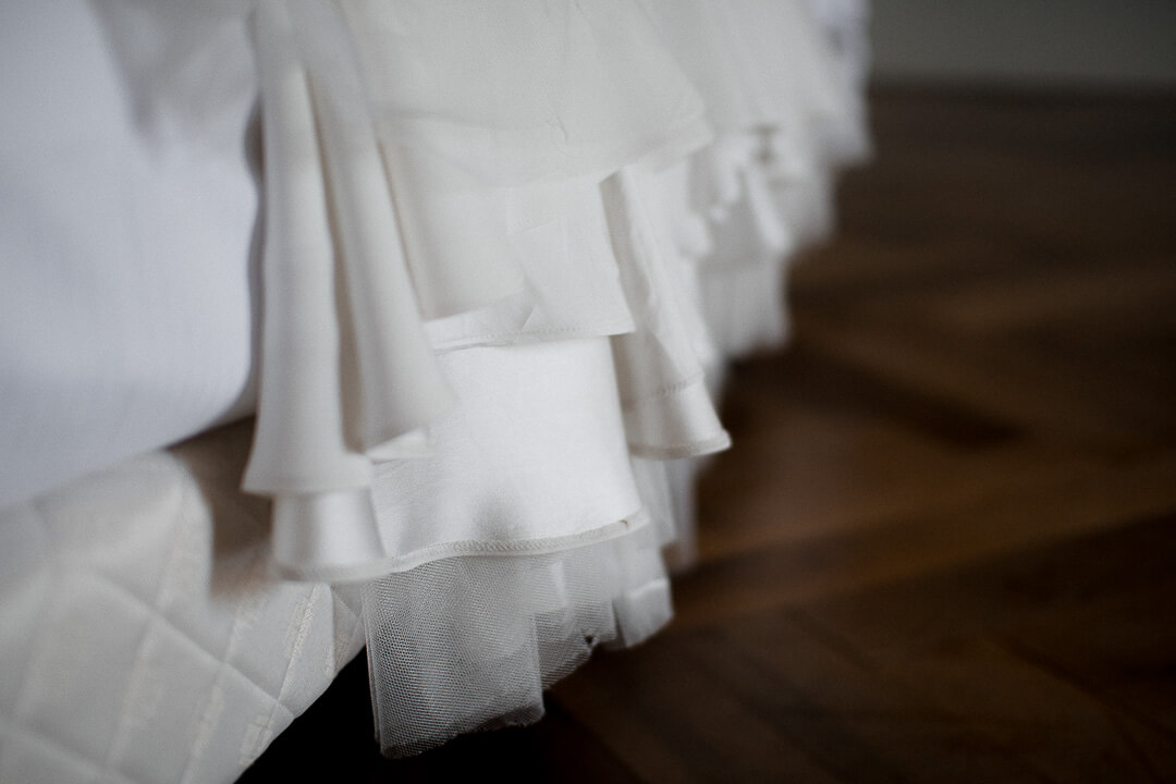 white wedding dress fabric bridal prep