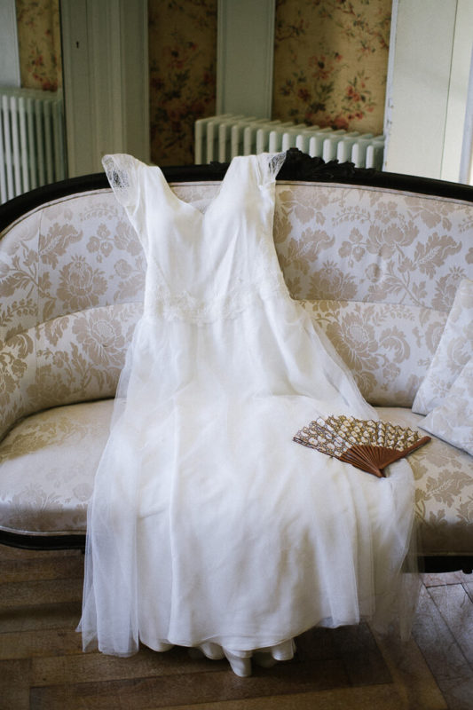 white wedding dress armachair Louis XVI bridal prep
