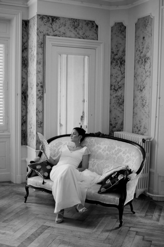 bride bridal prep modern wedding Louis XVI bedroom