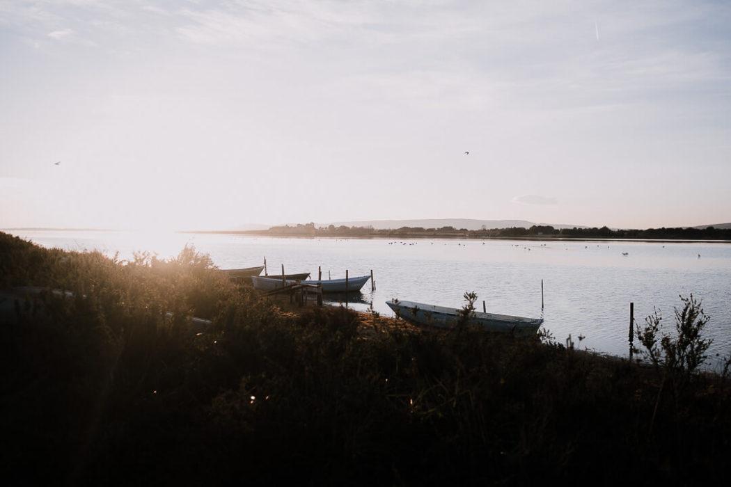 barque pêcheurs coucher soleil étangs